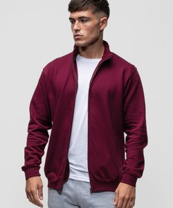 Fresher Full Zip Sweat in Burgundy