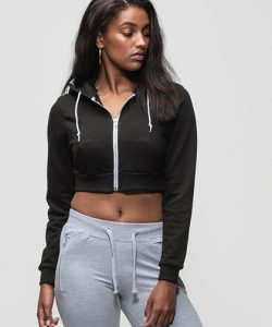 Girlie Cropped Zoodie in Heather Grey