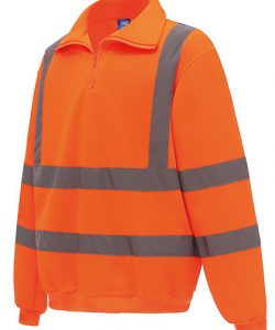 Hi Vis 1/4 Zip Sweatshirt in Hi-Vis Orange