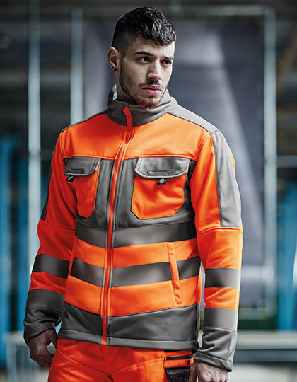 Hi-Vis Extol Stretch F/Z Jacket in Orange