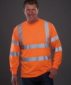 Hi Vis Long Sleeve T-Shirt in Hi-Vis Orange