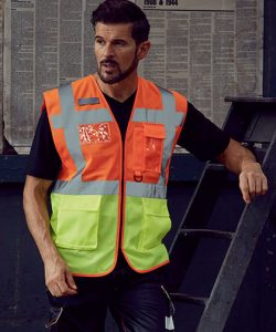 Hi Vis Top Cool Open Mesh Executive Waistcoat in Hi-Vis Orange