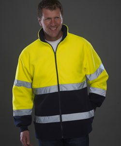 High Visibility 2 Bands 2-Tone Fleece Jacket in Hi-Vis Yellow