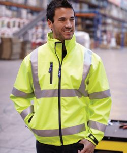 High Visibility 2 Bands & Braces Softshell Jacket in Hi-Vis Orange