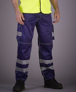 High Visibility Cargo Trousers with Knee Pad Pockets in Black
