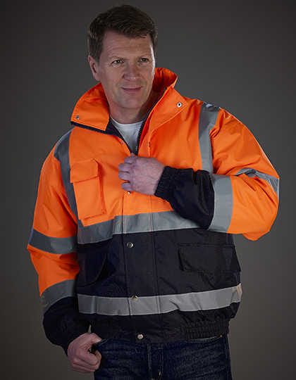 High Visibility Two-Tone Bomber Jacket in Hi-Vis Orange