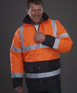 High Visibility Two-Tone Motorway Jacket in Hi-Vis Orange