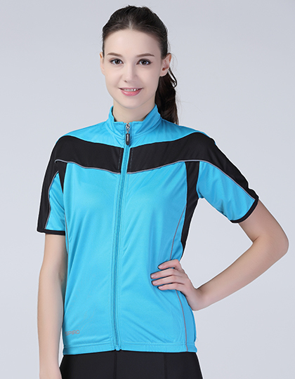 Ladies` Bikewear Full Zip Performance Top in Aqua