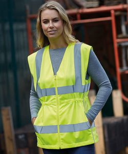 Ladies Hi-Vis Executive Waistcoat in Hi-Vis Yellow