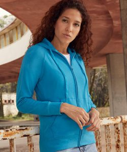 Ladies Lightweight Hooded Sweat Jacket in Azure Blue