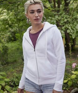 Ladies Premium Hooded Sweat Jacket in Azure Blue