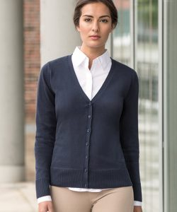 Ladies`V-Neck Knitted Cardigan in Black