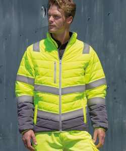 Men`s Soft Padded Safety Jacket in Fluorescent Yellow