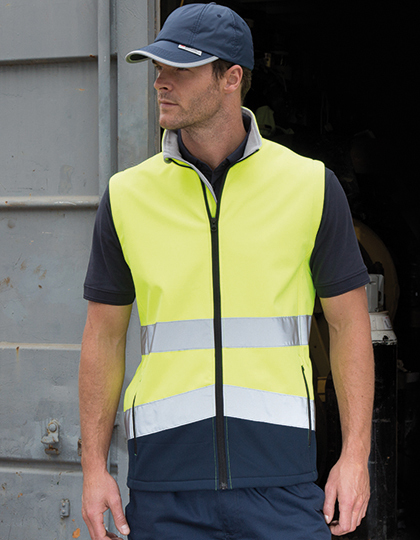 Printable Safety Softshell Gilet in Fluorescent Yellow