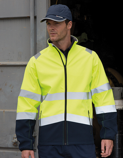 Printable Safety Softshell Jacket in Fluorescent Yellow