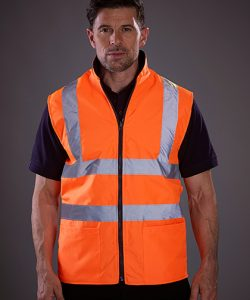 Reversible Fleece Bodywarmer in Hi-Vis Orange