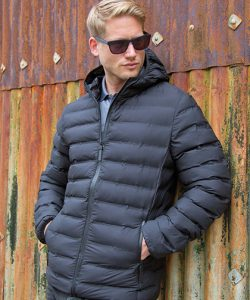 Ultrasonic Hooded Coat in Black