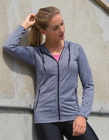 Womens Hooded Tee-Jacket in Grey Marl