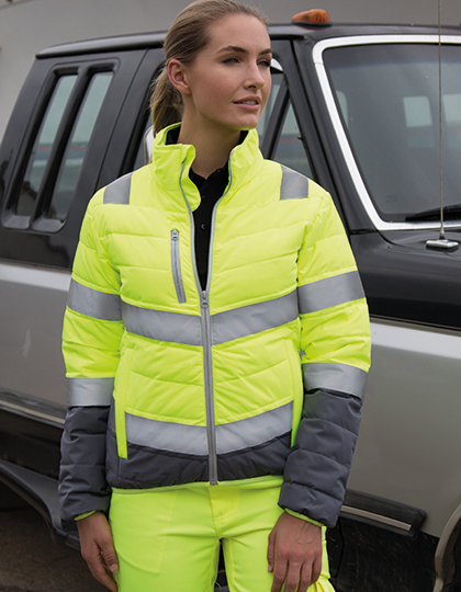 Women`s Soft Padded Safety Jacket in Fluorescent Orange