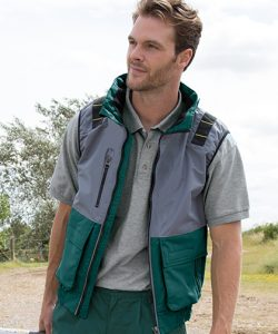 X-Over Microfleece Lined Gilet in Bottle Green